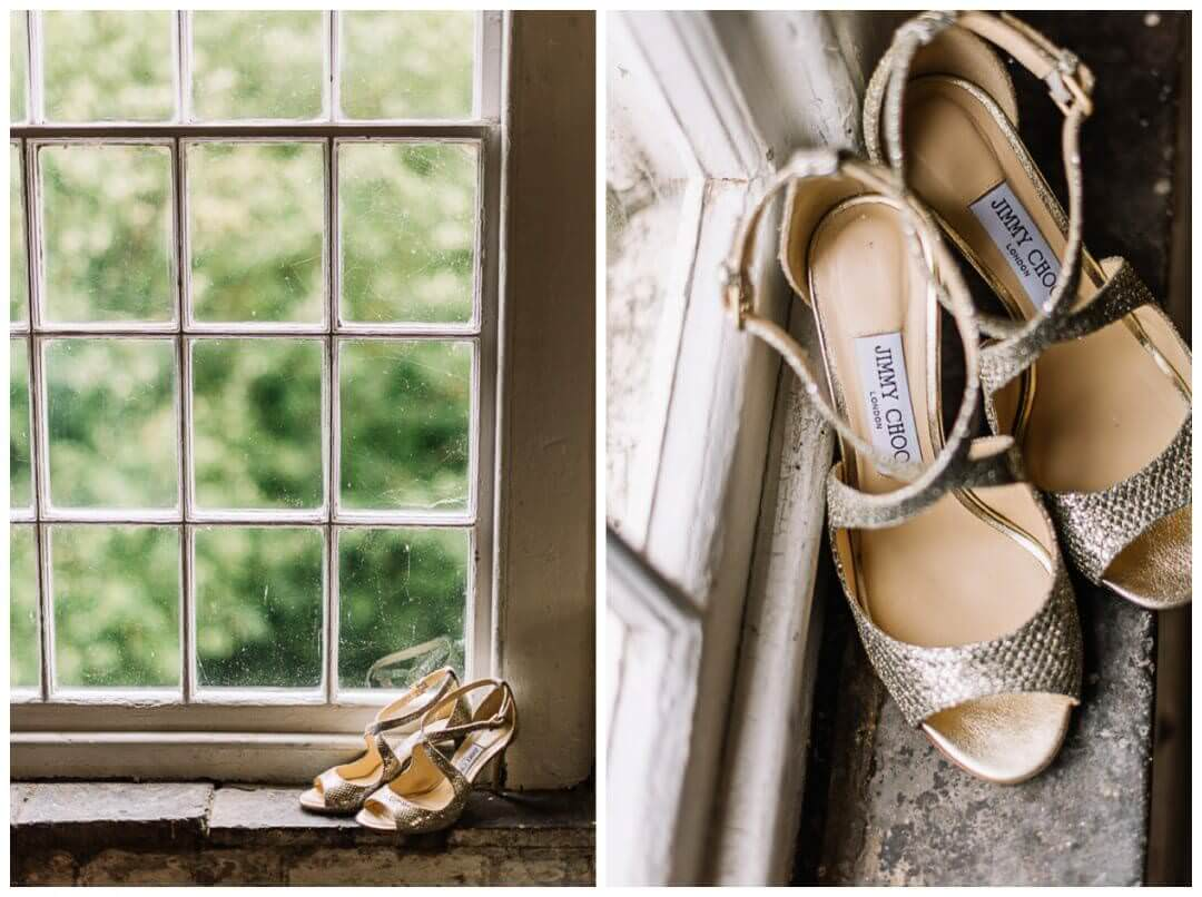 Bridal Details with Jimmy Choo at the West Mill Wedding Venue, Lucie Watson Photography.