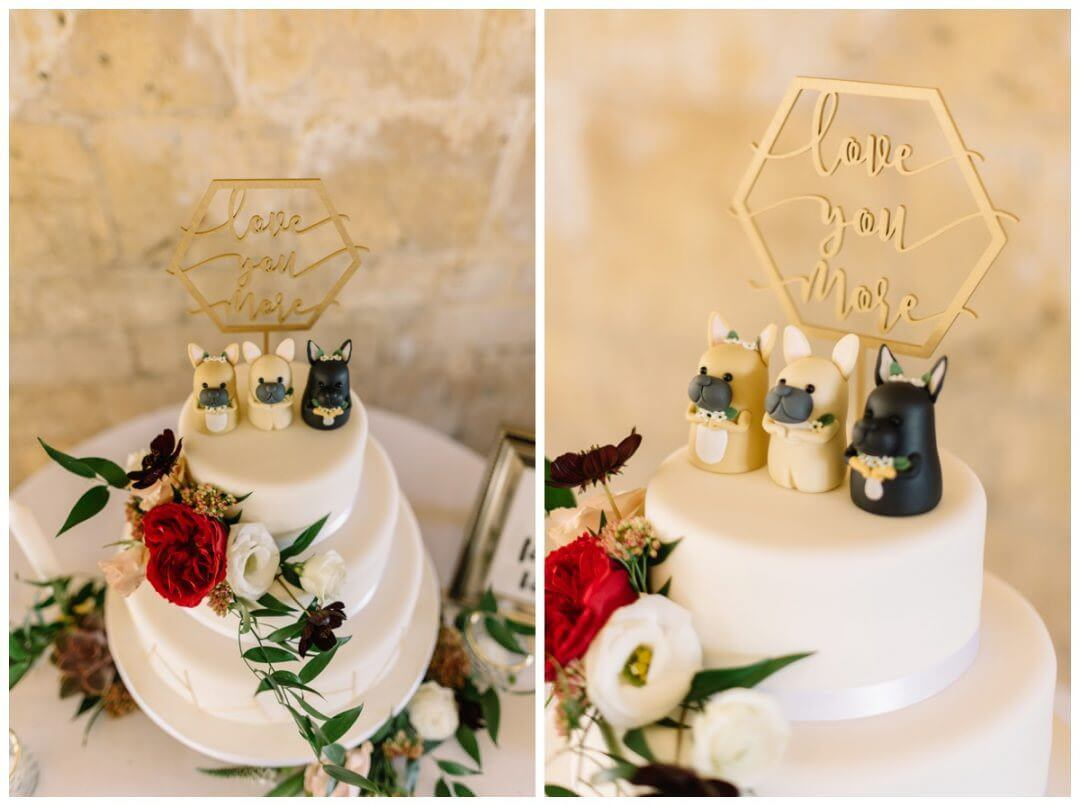 Lapstone Barn Wedding Photographer - wedding cake with dog figurines.