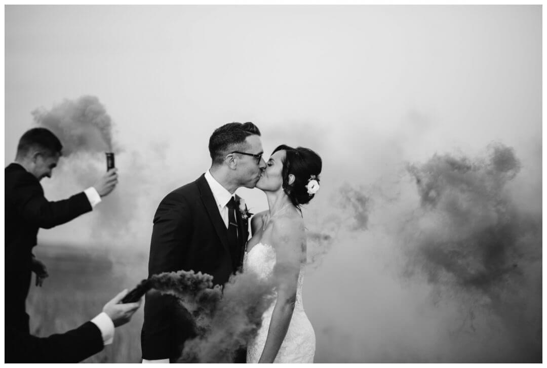 Lapstone Barn Wedding Photographer - Smoke bomb