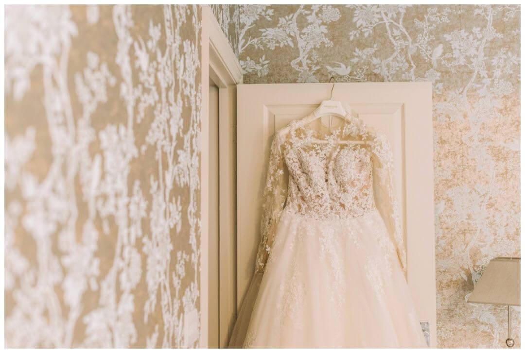 Pronovias Dress at Bridal prep at the Orangery at Settrington